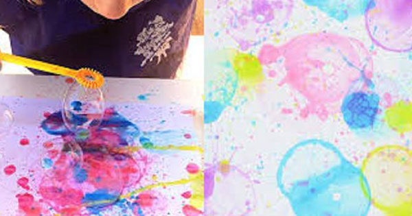 Bubble Painting Art Activity at Denio's!